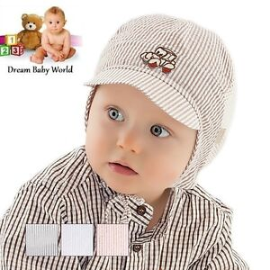 8c9a8c0aa92 BABY BOYS cotton TIE UP hat SPRING   SUMMER - NEW - size 3 - 9 ...