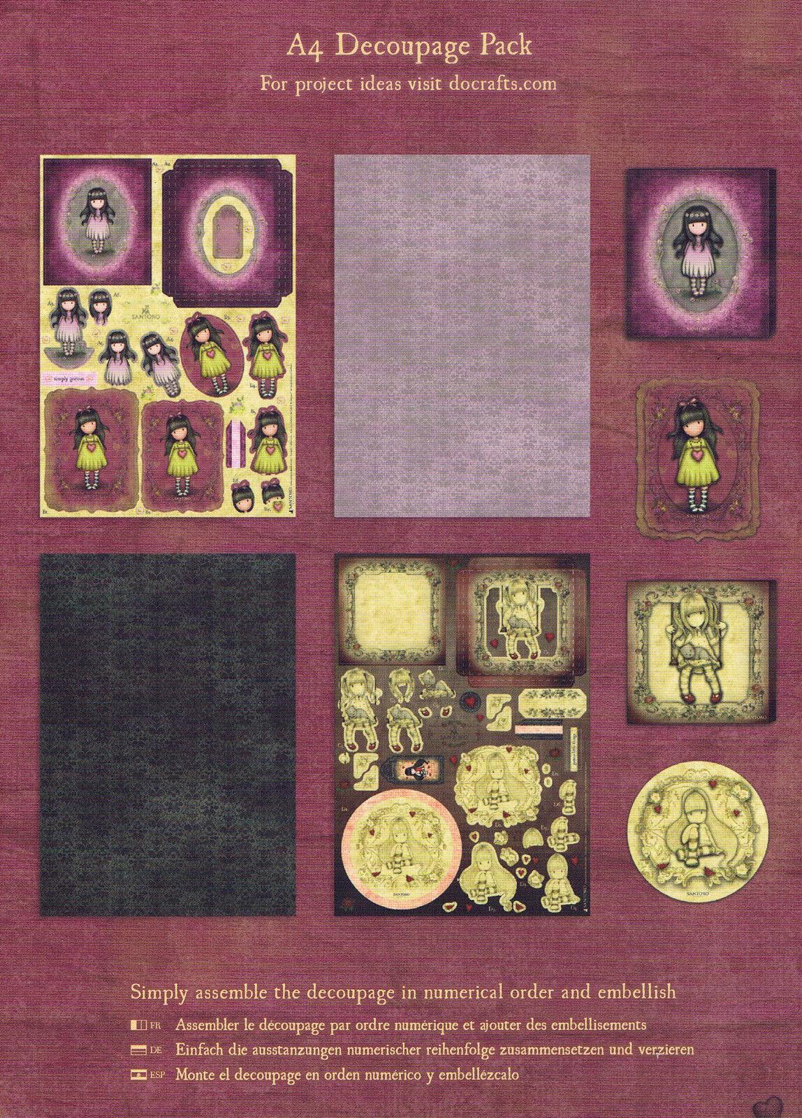 Santoro/'s Gorjuss A4 Decoupage Pack-Pulling On Your Heart Strings GO169124