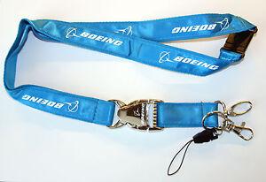 Boeing-Lanyard-Schluesselband-Schluesselanhaenger-NEU-Lanier-Metallverschluss-Blau