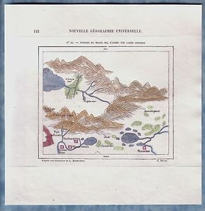 1882 Perron map HEADWATERS OF YELLOW RIVER (HUANG HE), AFTER OLD CHINESE MAP #25