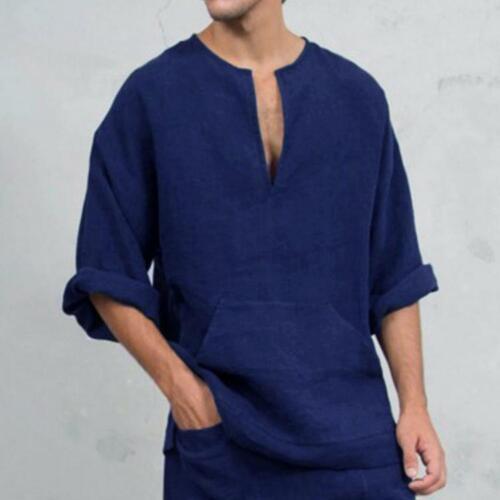 Herren Langarm Leinen Hemd Locker Sommer Freizeit V-Ausschnitt T-Shirt Top Bluse