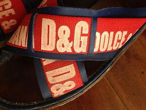 Sandali-uomo-D-amp-G-Dolce-amp-Gabbana-pelle-e-tessuto-rossi-blu-ciabatte-scarpe