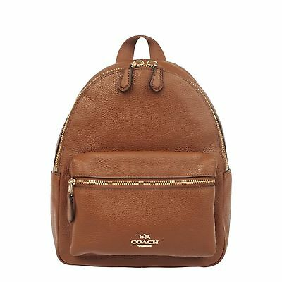 NEW COACH (F38263) SADDLE MINI CHARLIE PEBBLED LEATHER BACKPACK BAG