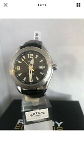 Rotary-Men-s-Editions-Series100-Preowned-Black-Leather-Strap-Watch-RE2008-1