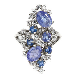 Unheated-Oval-Blue-Tanzanite-7x5mm-Cz-White-Gold-Plate-925-Sterling-Silver-Ring
