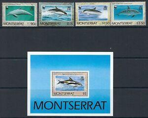 MONTSERRAT-1990-Dolphins-WWF-set-Min-sheet-SG833-6-MS837-MNH
