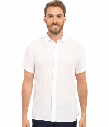 Nwt Perry Ellis Big /& Tall White Textured Short Sleeve Linen Button Up Shirt