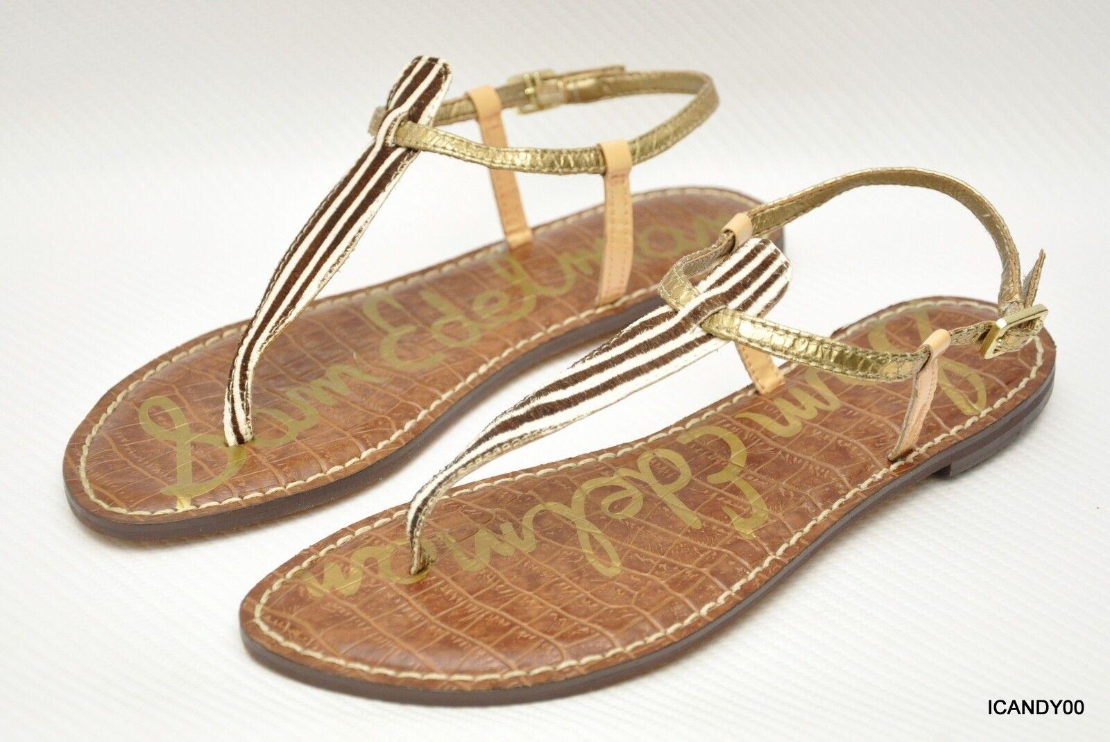 New Sam Edelman GIGI Real Fur Flat Thong Ankle Sandal Sandal Sandal shoes Zebra gold 6.5 37.5 a8311b