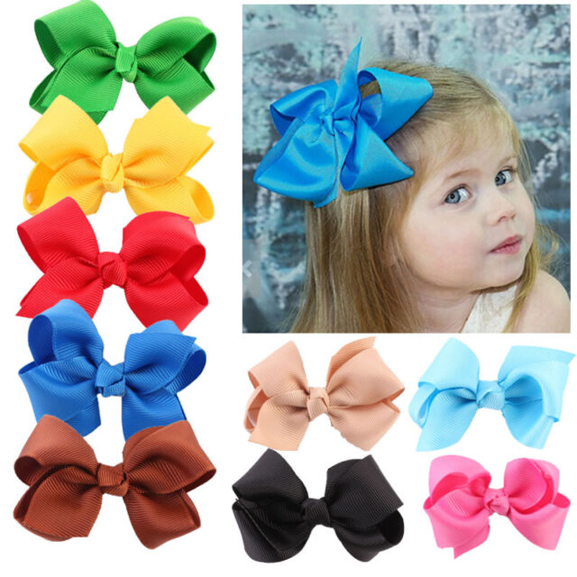 20pcs Cute Baby Girls Kid Boutique Big Bow Hair Clips Grosgrain Ribbon Hairpin