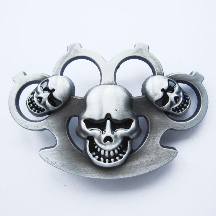 Three Skull Heads Metal Novelty Belt Buckle