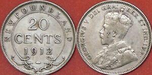 Fine-1912-Canada-Newfoundland-Silver-20-Cents
