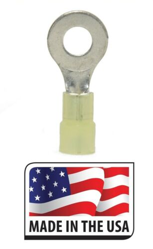 12-10 YELLOW NYLON RING TERMINAL 3//8 ELECTRICAL CONNECTOR MADE IN USA 50
