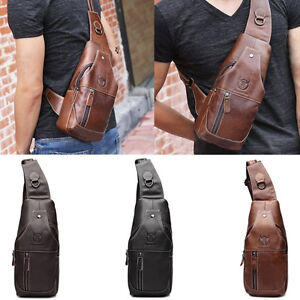 30871d31f Fashion Retro Men's Leather Sling Bags Chest Shoulder Bag Crossbody ...
