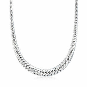Graduated Herringbone Style Cuban Link Necklace Chain Real 925 Sterling Silver Ebay