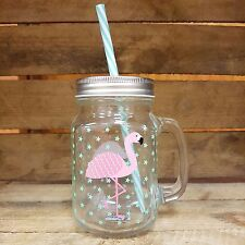 Tropical Flamingo Mason Drinking Glass Jar, Handle & Straw, Cocktail Mug, Party