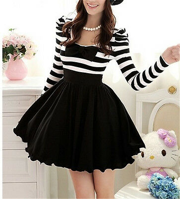 1pc Girls Gothic Punk Lolita Dress Dolly Bowknot Stripes Spring Dress Skirt