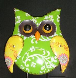 Home Decor Green Metal Owl Moving Wings Artisan Figurine