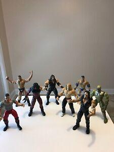 Lot-of-13-1999-WWF-WWE-Jakks-Pacific-Rock-Wrestling-Action-Figures-Titan-Tron