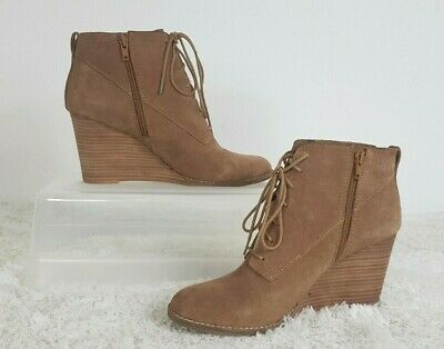 Lucky Brand sz 9 Brown Suede Zip Lace