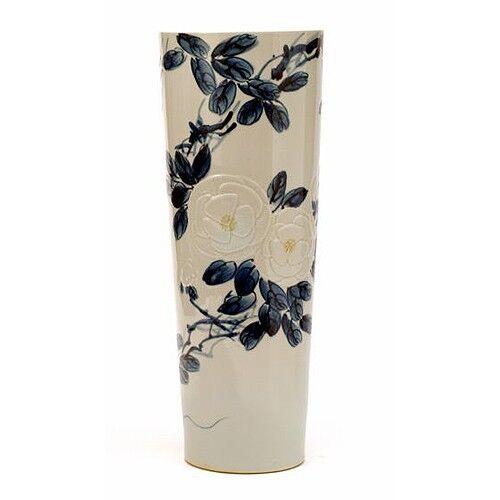 CONNIE SCHAEVITZ Floral pattern vase with lily center
