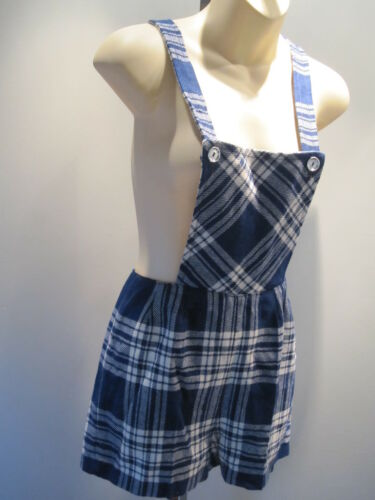 Nos Vintage 60s 70s Wool Plaid Bib Jumper Romper P