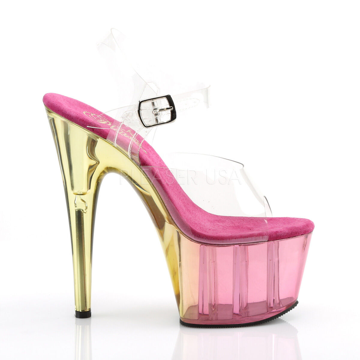 PLEASER Sexy Exotic Dancer Pink Tinted Platform Schuhes 7