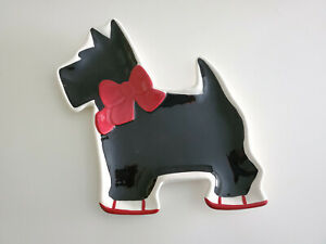 GLOBAL-DESIGN-Connections-Kate-Williams-Scottie-Dog-Snack-Dessert-Plate-Holiday