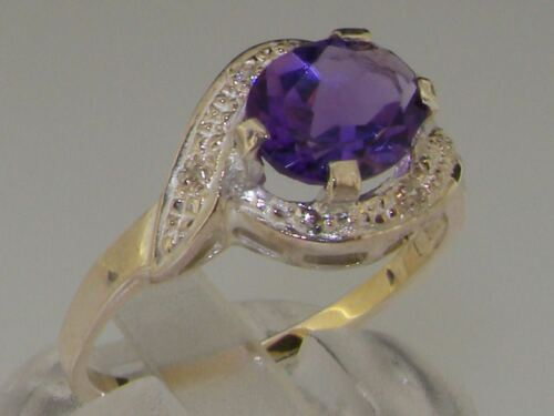 Solid 925 Sterling Silver Natural Amethyst /& Diamond Womens Solitaire Ring