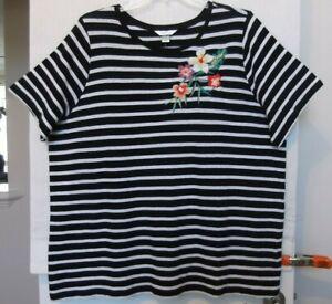 CJ-Banks-Size-3X-Black-amp-white-striped-knit-top-floral-embroidery-NWT
