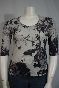 Coldwater-Creek-Misses-MEDIUM-10-12-Gray-Purple-Floral-3-4-Sleeve-Blouse-Shirt