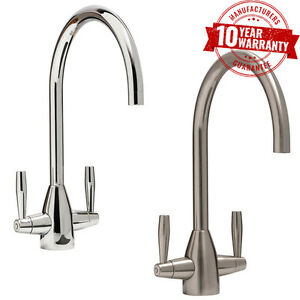 Kitchen-Tap-Monobloc-Round-Sink-Mixer-Twin-Lever-Handle-Chrome-or-Brushed-Steel