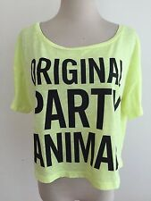 Victoria's Secret PINK Crop Top Tee T-Shirt Highlighter Yellow Size M