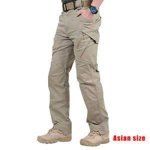 Men-Work-Cargo-Long-Pants-Pockets-Loose-Trousers