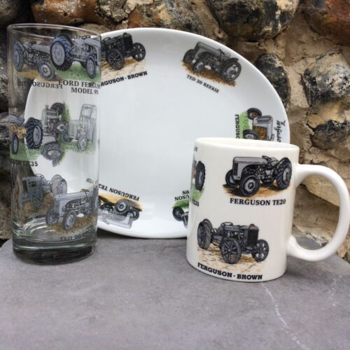 FERGUSON 3 PIECE CERAMIC & GLASS SNACK SET WITH  6 DIFFERENT TRACTORS ON