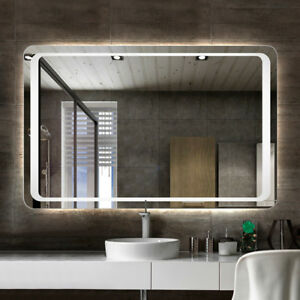 large illuminated bathroom mirror modern large heated led illuminated bathroom backlit 19095