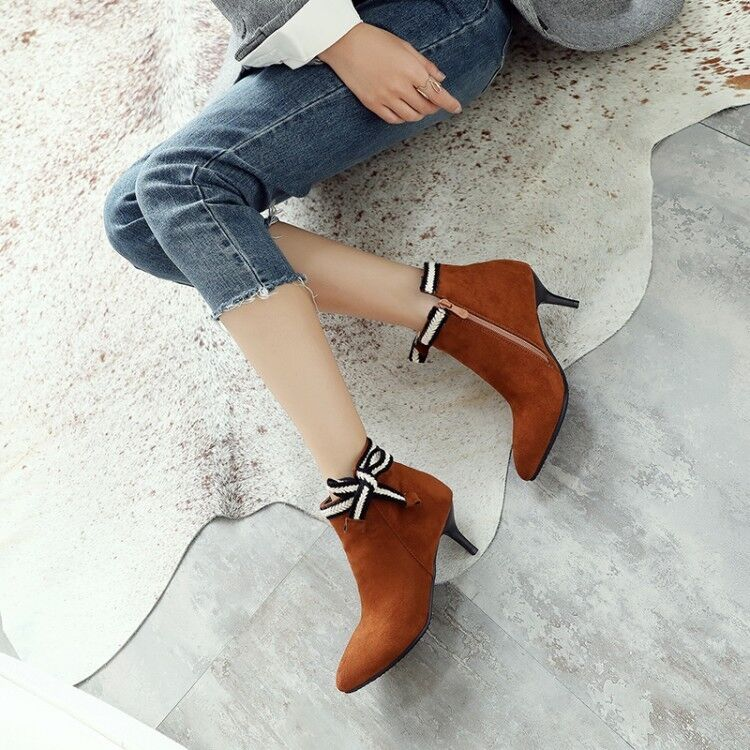 Womens Bow Decor Pointed Toe Faux Suede Kitten Heel Party Ankle Boots Work shoes