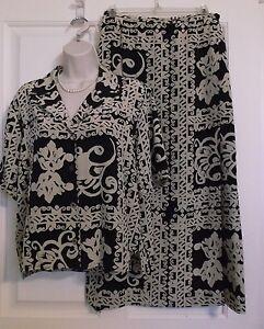 bc85f773e909ad Vtg Doncaster 100% Silk 2Pc Boho Retro Skirt Top Blouse Black   Tan ...