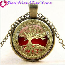 Gold Tree of Life Cabochon Glass bronze necklace for women men Jewelry