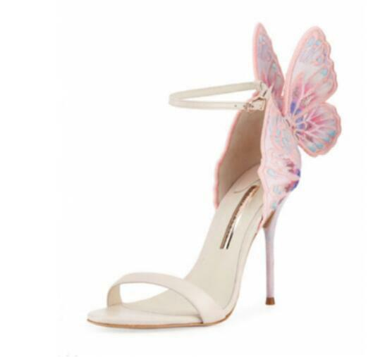 Damenschuhe Mixed Strap Farbes Butterfly Buckle Ankle Strap Mixed Stilettos Princess Sandales D35 a713ca