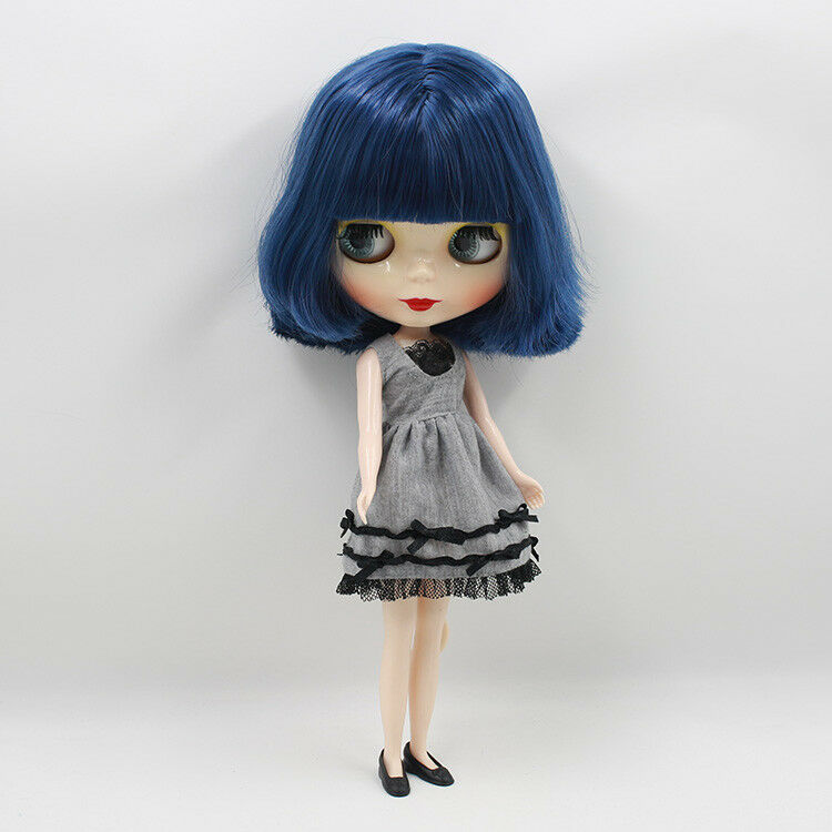 12  Neo Blythe Doll from Factory Nude Doll Dark azul Short Hair With Bangs