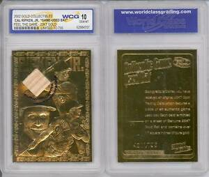CAL-RIPKEN-JR-2002-Game-Used-Bat-23KT-Gold-Card-Limited-755-Graded-GEM-MINT-10