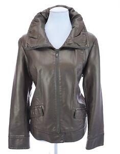 Chico-039-s-Bronze-Brown-Metallic-Full-Zip-Faux-Leather-Moto-Jacket-Sz-2-Large-12