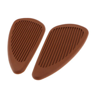 2 Pieces Motorcycle Motorbike Tank Traction Gas Pads Knee Fuel Side Grips Protector Brown