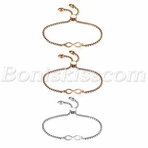 Womens-Stainless-Steel-Charm-Love-Infinity-Bracelet-Chain-Gift-Freely-Adjustable