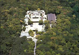 JAPAN-Post-Card-Postkarte-Aerial-View-of-a-Shrine-Temple-Tempel-Luftaufnahme