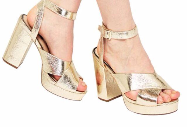 Miss Selfridge Cabaret Platform Sandals Gold UK 6 EU 39 NH02 38 SALEs
