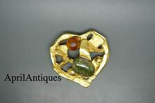 Vintage Christian Lacroix gold-plated green agate glass heart brooch