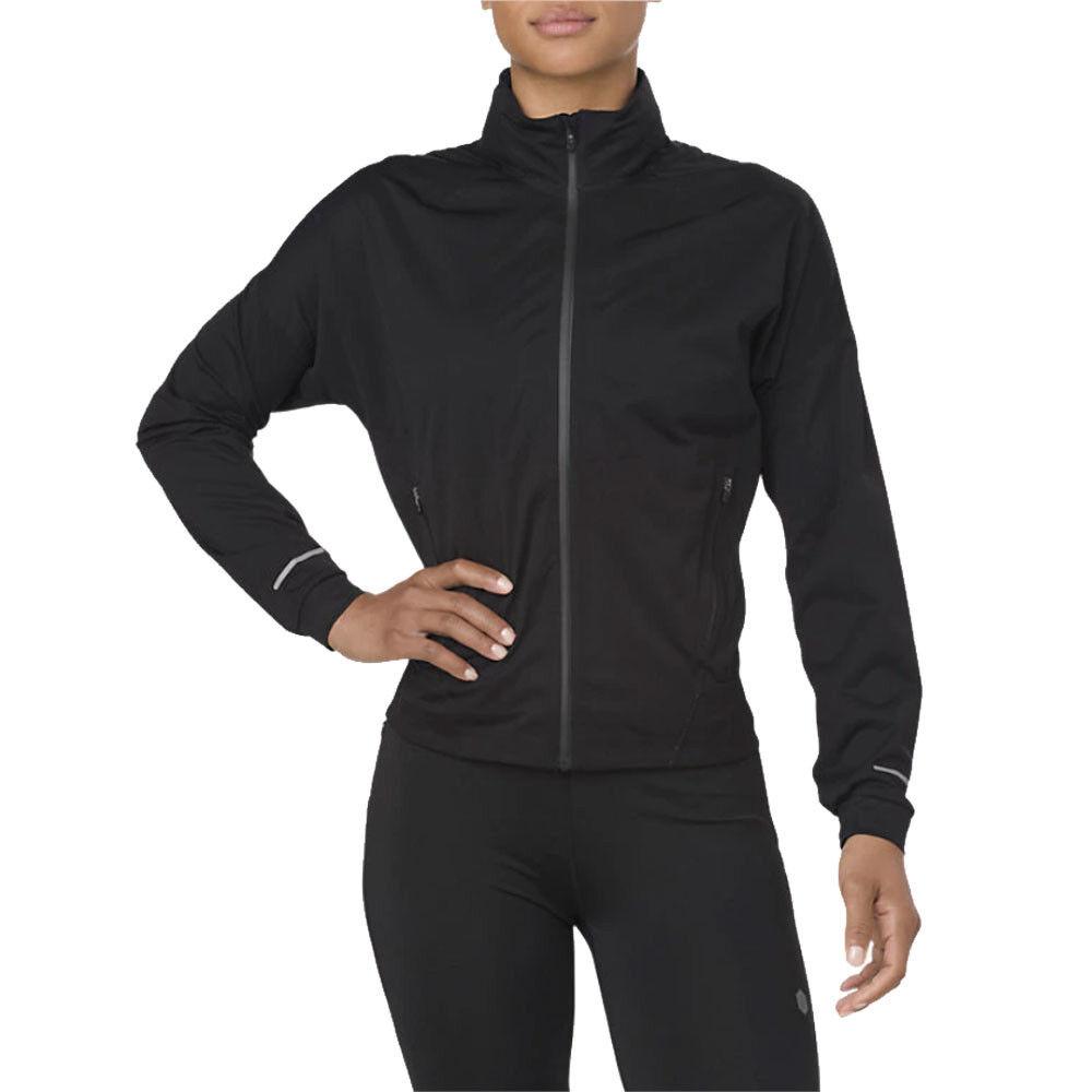 Asics Womens gyorsító futás kabát Top fekete sport vízálló szélálló