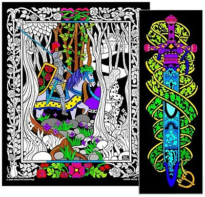 Knight Sword - Large 23x20 Inch Fuzzy Velvet Coloring Poster
