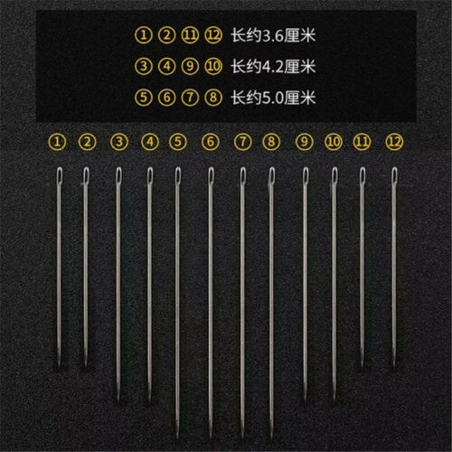 12Pcs Self Threading Hand Sewing Needles Assorted Sizes Easy Thread Big Eye Set